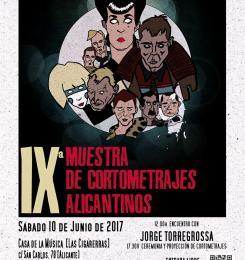 Cartel oficial de la IX Muestra de Cortometrajes alicantinos. Diseño: Jorge Daza.