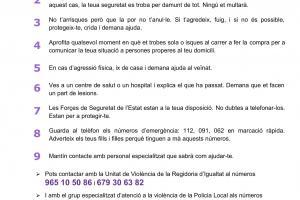 RECOMANACIONS PER A LA TEUA SEGURETAT EN SITUACIONS DE VIOLÈNCIA DE GÈNERE