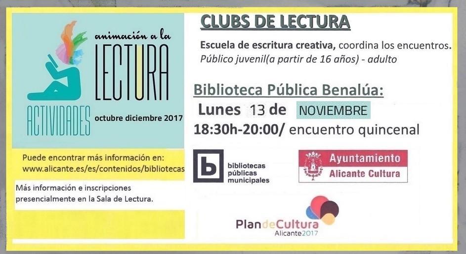 Encuentro del Club de Lectura de Benalúa el lunes 13 de noviembre ...