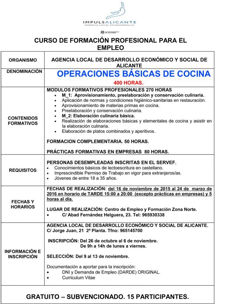 Operaciones Básicas de Cocina para Jovenes | Ayuntamiento de Alicante
