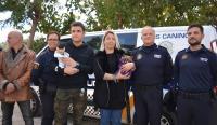 Los agente de la Unidad canina que han intervenido, con el comisario principal de la Policía local y la concejala de Sanidad y Protección animal, Marisa Gayo, y algunos de los cachorros rescatados.