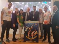El alcalde, con las concejalas de Deportes y de Turismo y Playas y el presidente de la RFEB en la presentación del Balonmano Playa