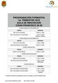 Programa del primer trimestre del aula de innovación de la calle San Francisco