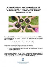 Taller formativo en agricultura sostenible para la creación del huerto urbano en el Centro Comunitario Playas