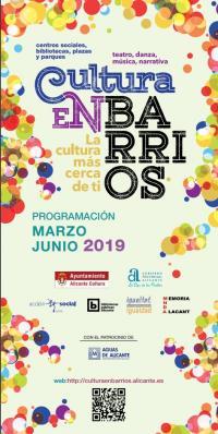 Cultura en barrios 2019. De marzo a junio