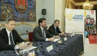 Acto de presentación de la etapa, con César Sánchez, Luis Barcala y Javier Guillén