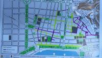 Plano de la propuesta de peatonalización del centro tradicional