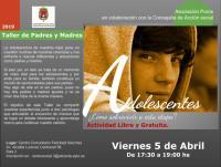 Cartel del taller para madres y padres sobre la adolescencia