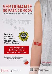 El Ayuntamiento de Alicante y la Policía Local organizan un maratón de Donación de Sangre el martes 30 de abril en la jefatura