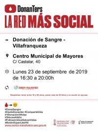 Donación de Sangre Villafranqueza. Lunes 23 de septiembre 2019.