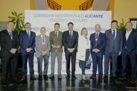 Luis Barcala, alcalde de Alicante, y Carlos Mazón, presidente de la Diputación, junto a miembros de la corporación municipal en las Jornadas sobre el Corredor Mediterráneo