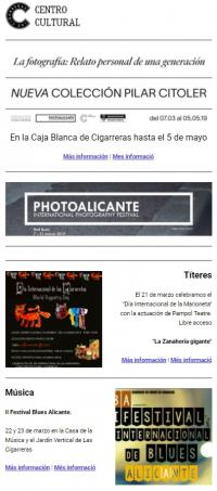 Boletín de noticias del Centro Cultural Las Cigarreras