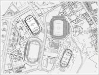 """Plano del distrito deportivo de la ciudad, que incluye a la Ciudad deportiva """"Antonio Valls"""""""