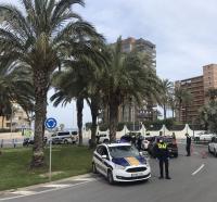 control policial en la Playa de San Juan