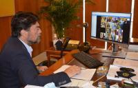 El alcalde de Alicante, Luis Barcala, en la reunión sobre el Ingreso Mínimo Vital con el Ministro de Inclusión, Seguridad Social y Migraciones, José Luis Escrivá
