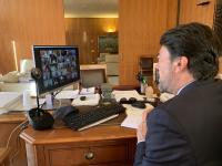 El alcalde de Alicante, Luis Barcala, en la reunión telemática
