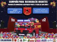 Cartel campaña solidaria de recogida de juguetes de Bomberos del SPEIS