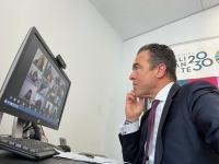Antonio Peral durante la reunión telemática mantenida el director general de Fondos Europeos de la Generalitat Valenciana
