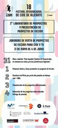 Cartel informativo y programa del Laboratorio de Proyectos de Ficción de la Agencia Local de Desarrollo y Festival de Cine de Alicante