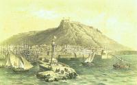 Grabado puerto de Alicante siglo XIX.