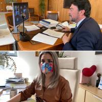 Luis Barcala y Mari Carmen Sánchez en Sesión Extraordinaria de Pleno relativa a los Presupuestos Municipales 2021