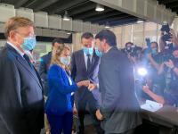 Barcala con la ministra de Transporte en presencia de Puig y González