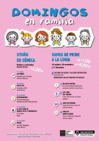 Cartel con el conjunto de propuestas culturales de Domingos en familia