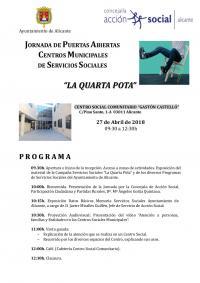 """""""La Quarta Pota"""": Programa de actos Jornada de Puertas Abiertas Centros Municipales de Servicios Sociales"""