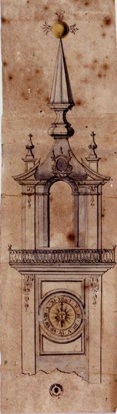 Dibuix de la Torre del rellotge del Ajuntament.1772
