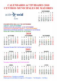 Calendario de Actividades para Mayores 2018-2019
