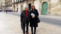 Federico Ramirez y Eva Montesinos durante la reunión mantenida sobre la asamblea nacional de la Federación de Amigos del Camino de Santiago se celebrará en Alicante