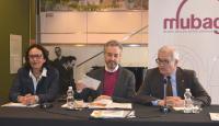 Rueda de prensa, con Gloria Vara, J. L. Pérez Pont y C. A. Asencio, en el MUBAG