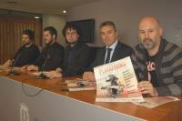 Daniel Simón, en la mesa de presentación, con Jesús Lizón, Alejandro Tébar, Miguel Carratalá y Alvaro García del Castillo