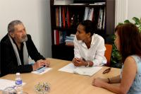 Reunión trabajo Julia Angulo Y Marco Marchioni,