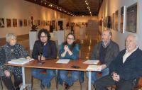 Mesa de presentación de la exposición en la Lonja