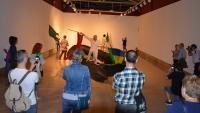Un momento de la intervención artística en la Lonja