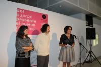 Momento de la apertura con Clara Leitão (coordinadora),  Mario Gutiérrez Cru. (director - comisario) y Gloria Vara (Concejala de Cultura)