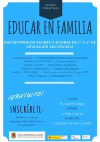 """Grupos formativos para padres y  madres """"Educar en familia"""". Secundaria"""