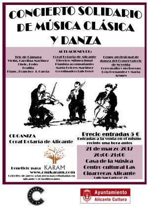 Cartel Concierto solidario de música clásica y danza